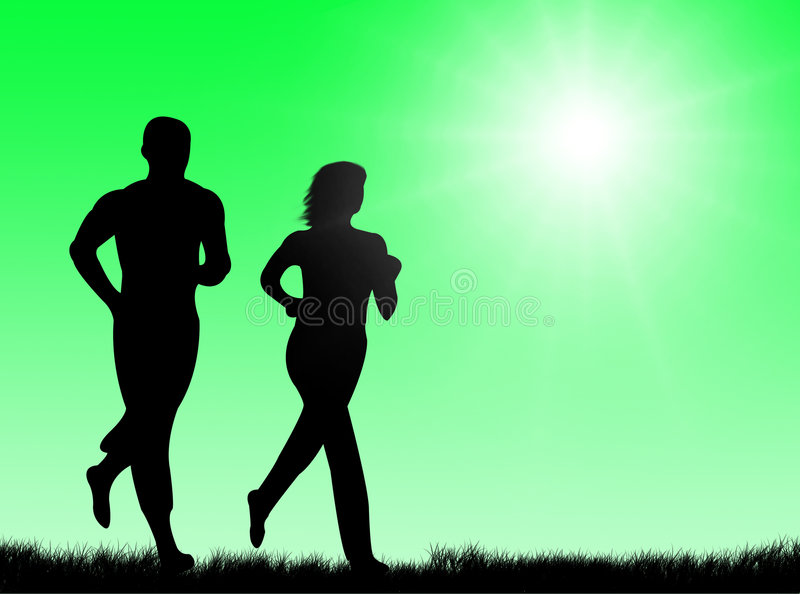 Jogging in the sun royalty free illustration