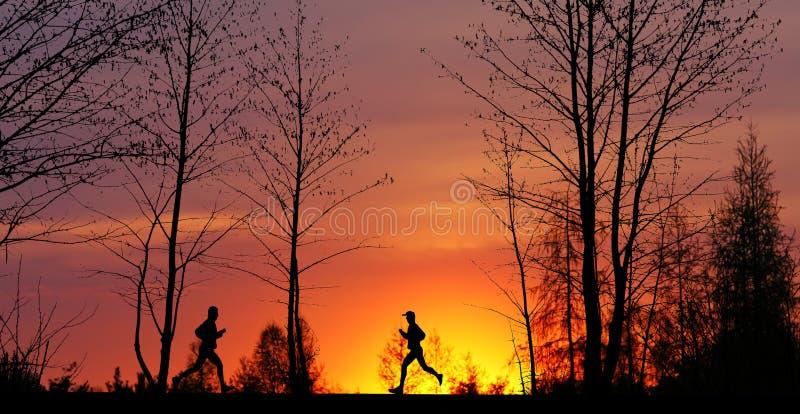 Jogging at Sunset stock image