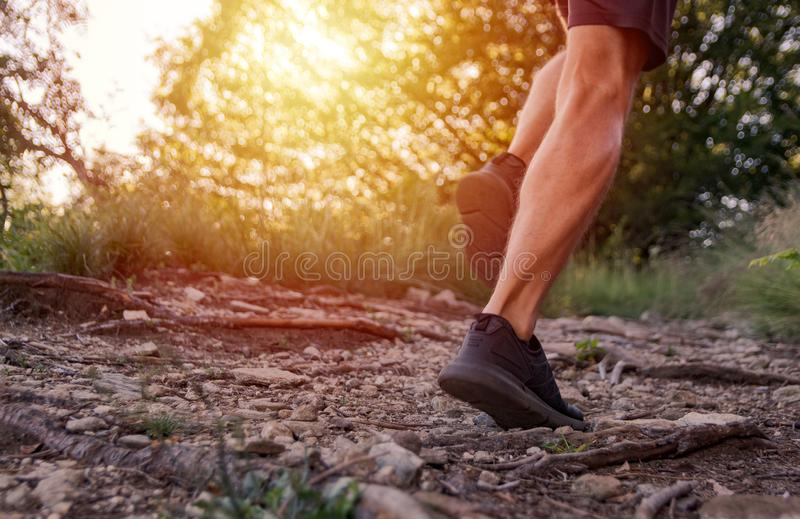 Man legs running on trail in the mountains stock image