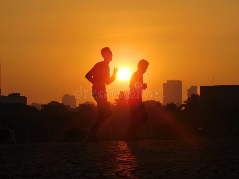 Jogging at sunset royalty free stock photo