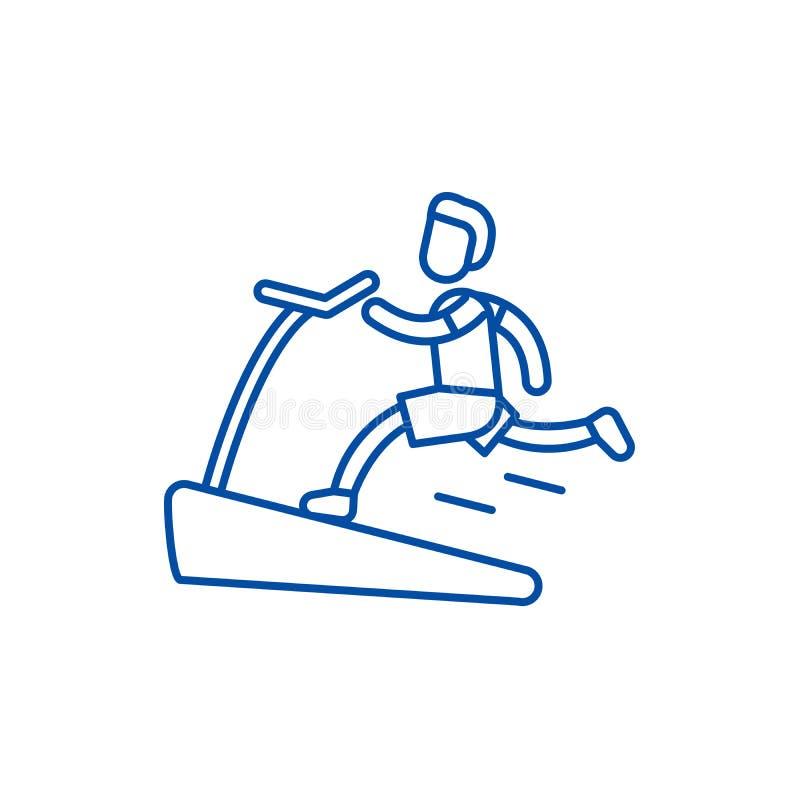 Jogging on the treadmill line icon concept. Jogging on the treadmill flat  vector symbol, sign, outline illustration. Jogging on the treadmill line concept icon vector illustration