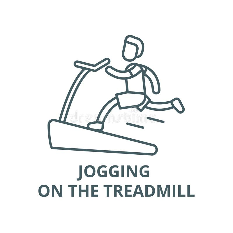 Jogging on the treadmill vector line icon, linear concept, outline sign, symbol. Jogging on the treadmill vector line icon, outline concept, linear sign vector illustration