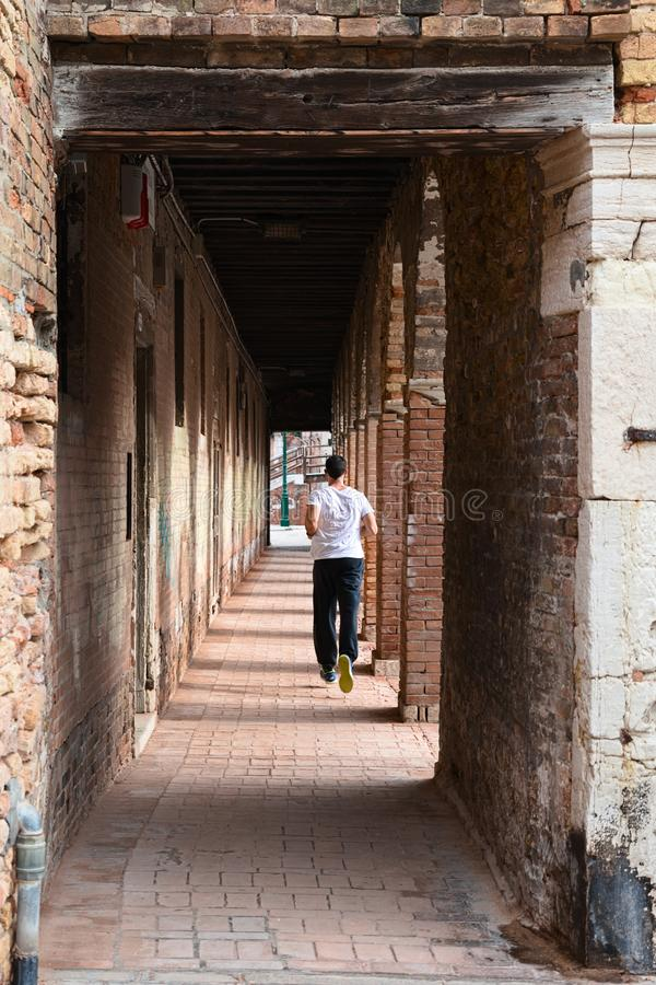 Jogging in Venice royalty free stock photos