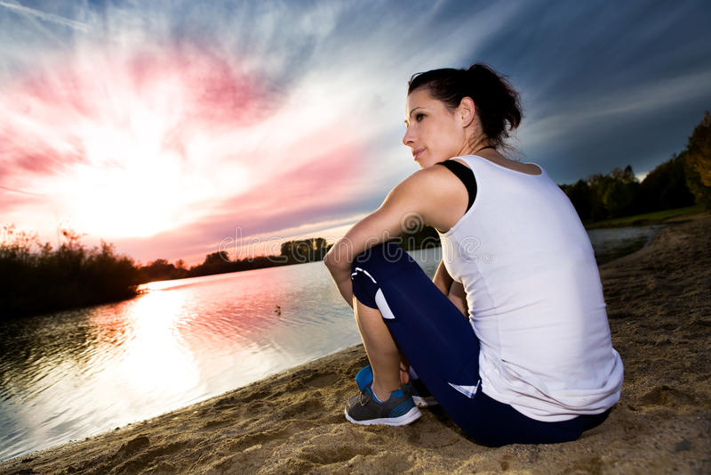 Download Jogging woman stock photo. Image of break, woman, river - 27215818