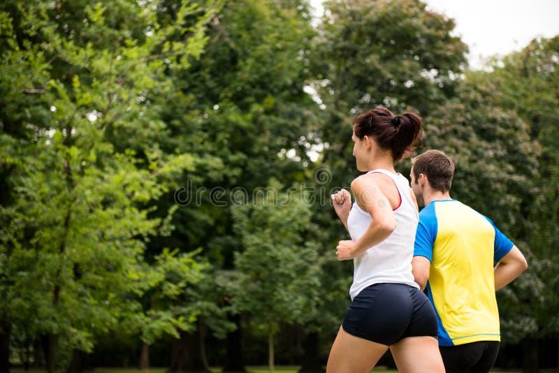 Jogging wpólnie - potomstwo pary bieg obraz royalty free