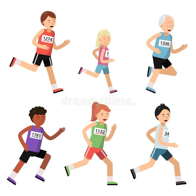 Joggingmarathon Sportmensen van verschillende leeftijden vector illustratie