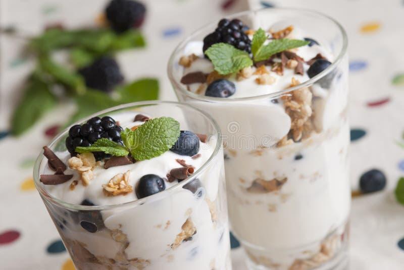 Joghurt mit Beeren und muesli stockbilder