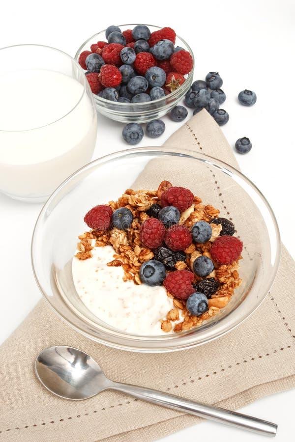 Joghurt mit frischen Beeren, muesli und Milch stockbild