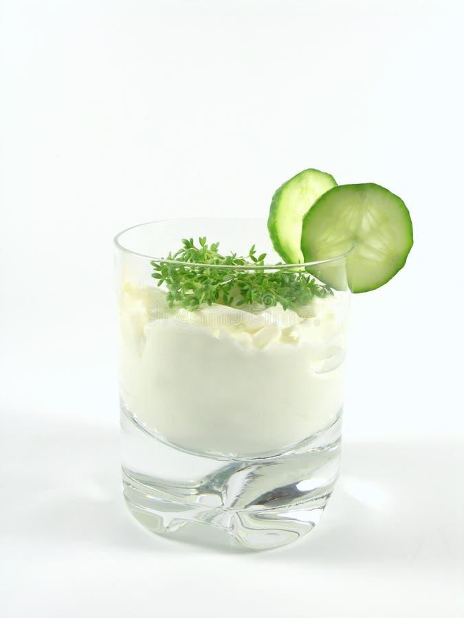 Joghurt mit Gurke und Brunnenkresse lizenzfreie stockfotos