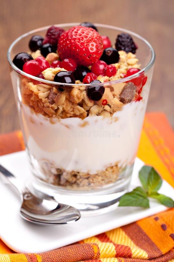 Joghurt mit muesli und Beeren lizenzfreie stockbilder