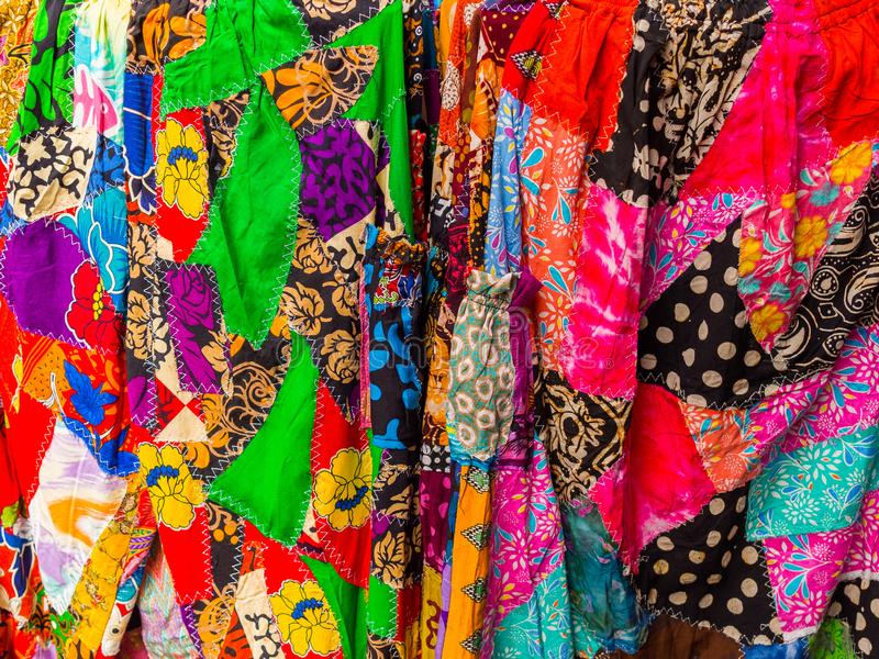 JOGJA, INDONESIA - AUGUST 12, 2O17: Close up and colorful clothes in Indonesia.  stock photography
