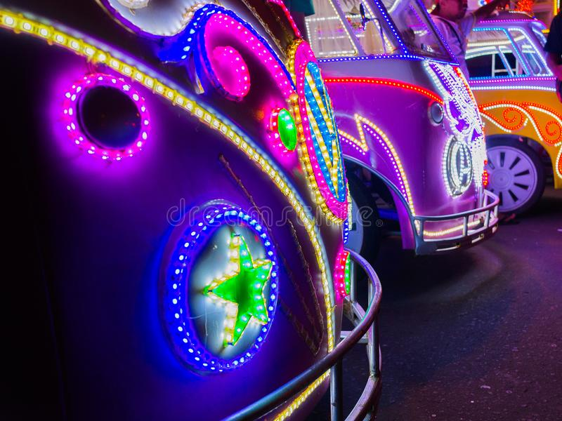 JOGJA, INDONESIA - AUGUST 12, 2O17: Close up of a traditional pedicap transport parket at outdoor with colorful and. Bright lights at night at jogja Yogyakarta stock photos