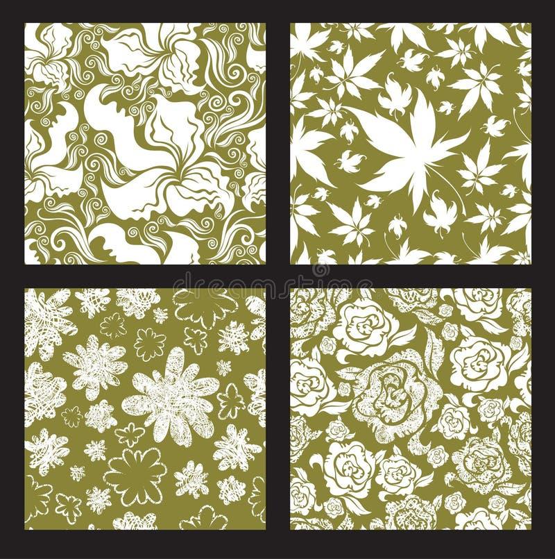 Jogo 2 do teste padrão floral do vintage sem emenda ilustração royalty free