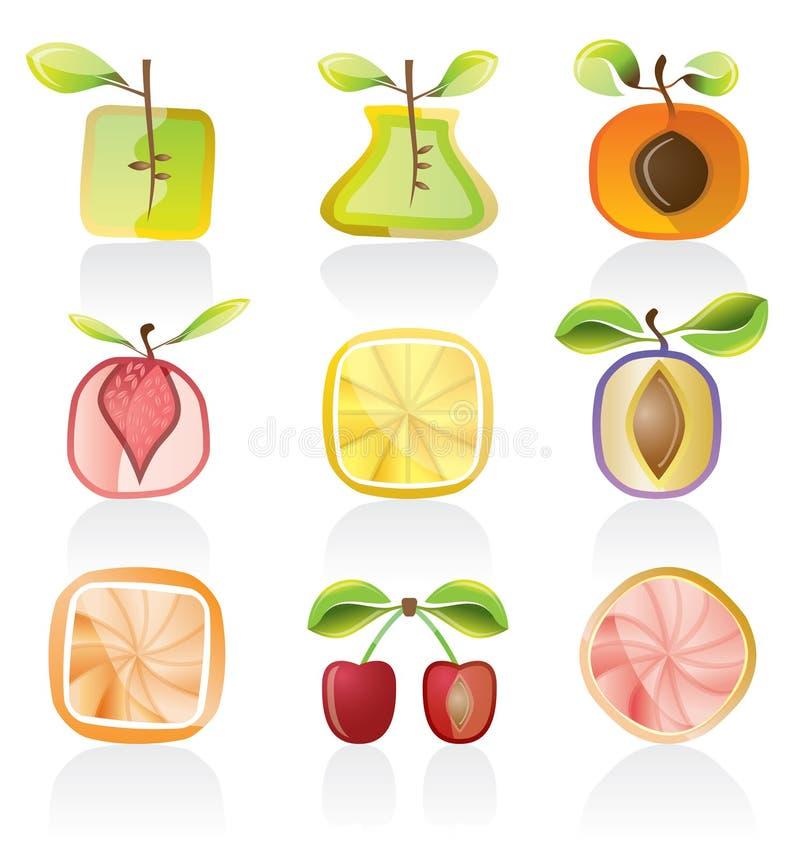 Jogo abstrato do ícone da fruta ilustração stock