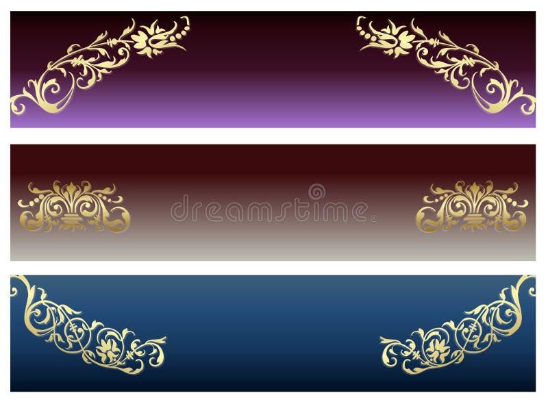 Jogo abstrato floral da bandeira. ilustração stock