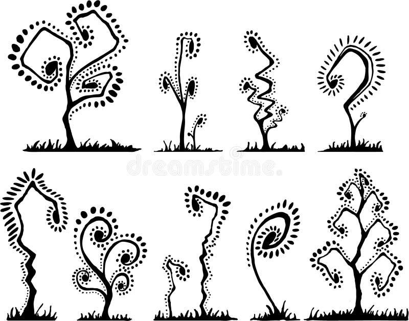 Jogo abstrato Funky da árvore ilustração royalty free