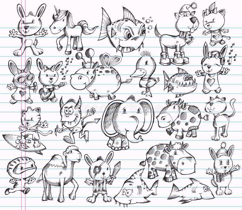Jogo animal do projeto do vetor do esboço do Doodle ilustração royalty free