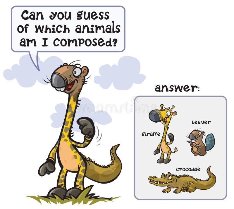 Jogo animal engraçado o animal estranho ilustração royalty free