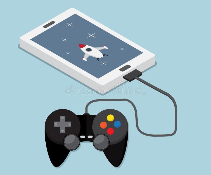 Jogo, aplicação no móbil, smartphone ilustração royalty free