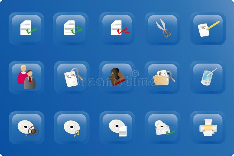 Jogo azul da tecla do escritório da cor ilustração stock