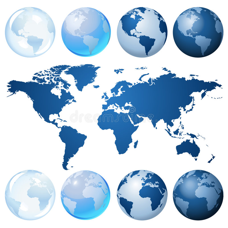 Jogo azul do globo ilustração stock