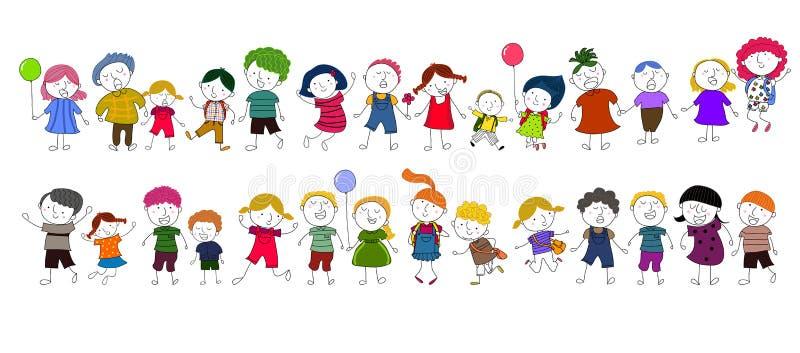 Jogo bonito das crianças dos desenhos animados ilustração royalty free