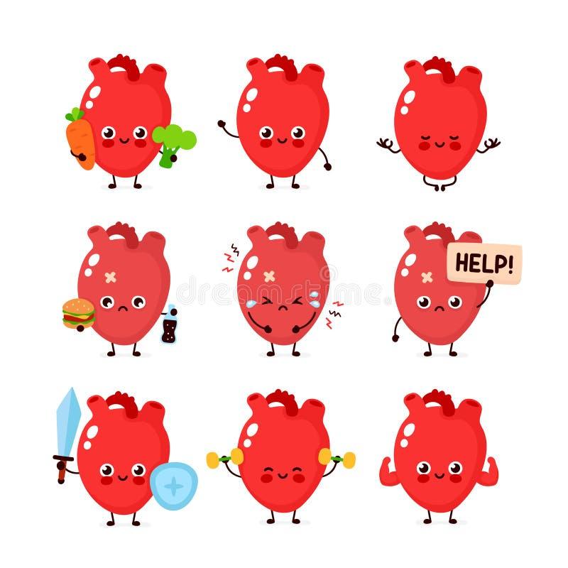 Jogo bonito do cora??o Órgão humano saudável e insalubre ilustração stock