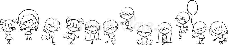 Jogo bonito feliz dos miúdos ilustração stock