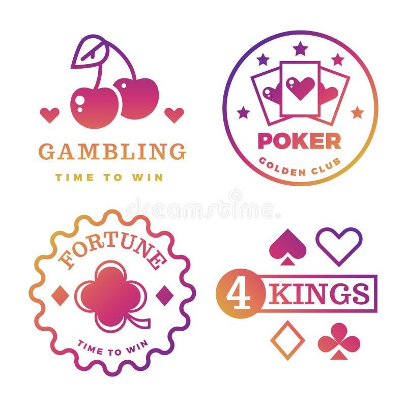 Jogo brilhante, casino, pôquer real, etiquetas do vetor da roleta ilustração stock