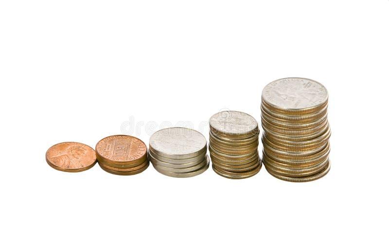 Jogo cheio de moedas americanas imagens de stock