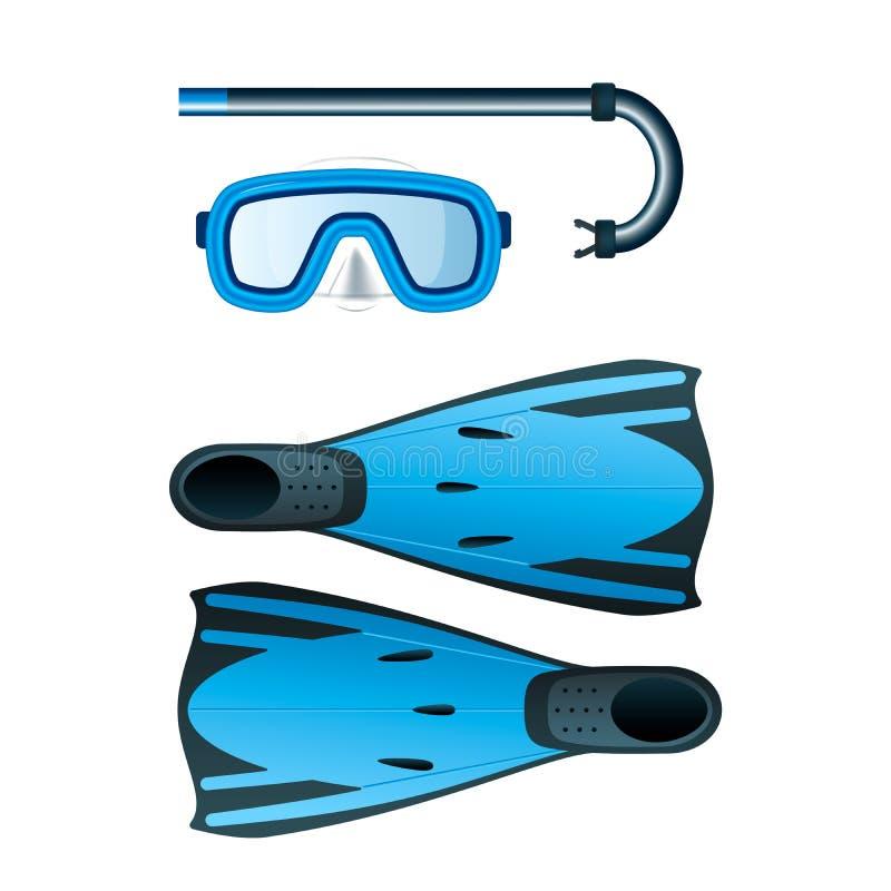 Jogo colorido azul de mergulho com tubo de respiração, máscara e aletas ilustração royalty free