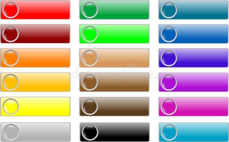 Jogo colorido das teclas vazias lustrosas do Web ilustração do vetor