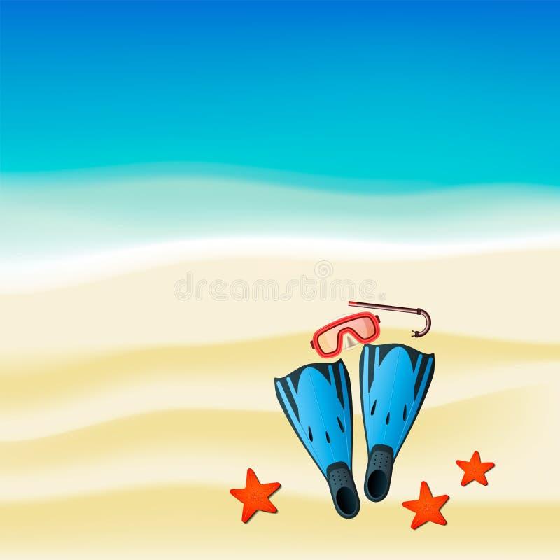 Jogo colorido de mergulho com tubo de respiração, máscara e aletas no beack ilustração royalty free