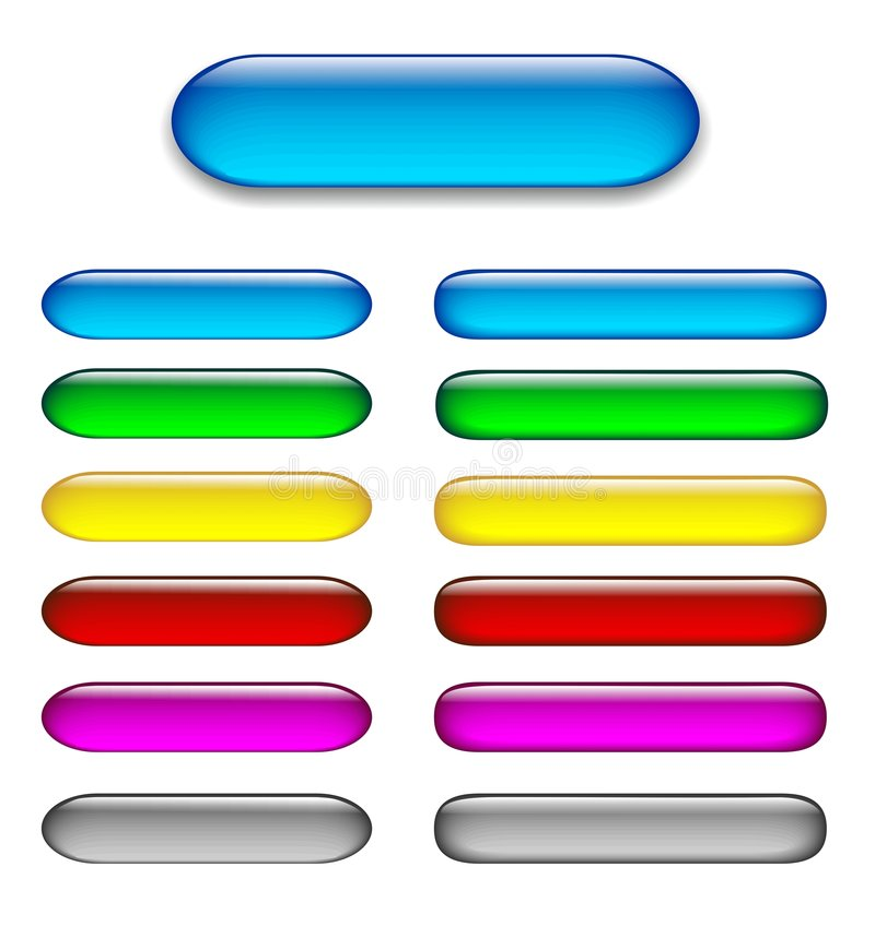 Jogo colorido de teclas lustrosas do Web ilustração do vetor
