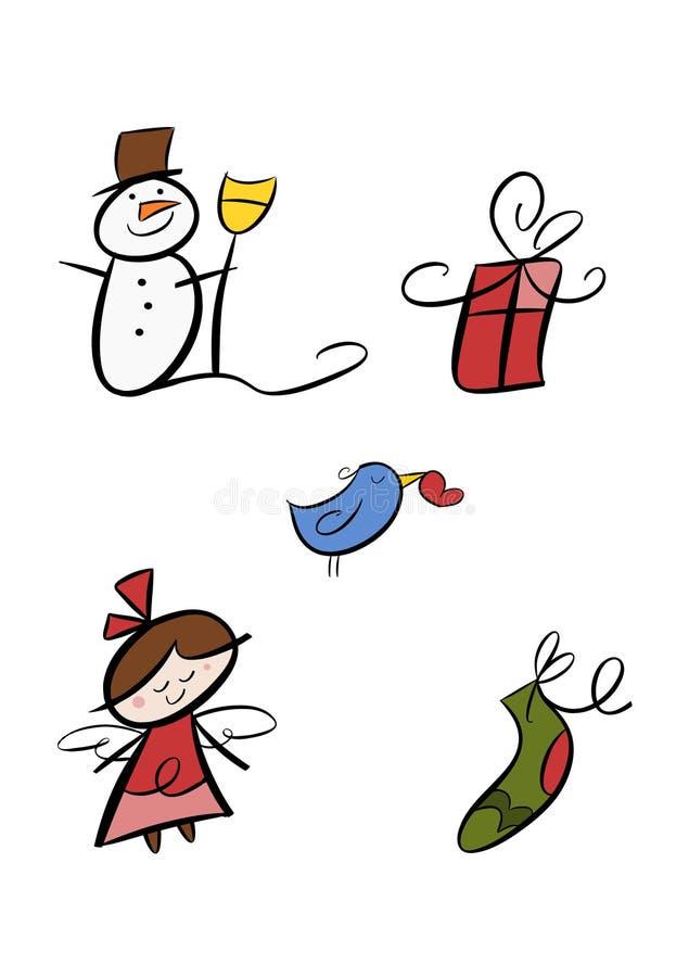 Jogo colorido do clipart do inverno ilustração stock