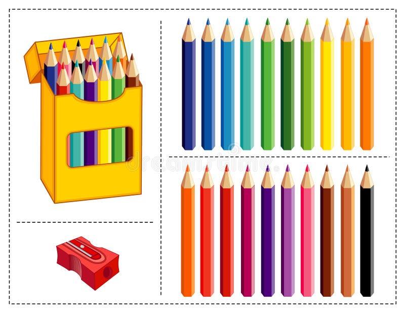 Jogo colorido do lápis ilustração stock