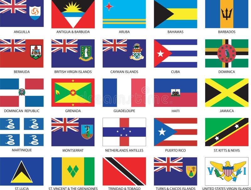 Jogo completo de 25 bandeiras do Cararibe ilustração stock