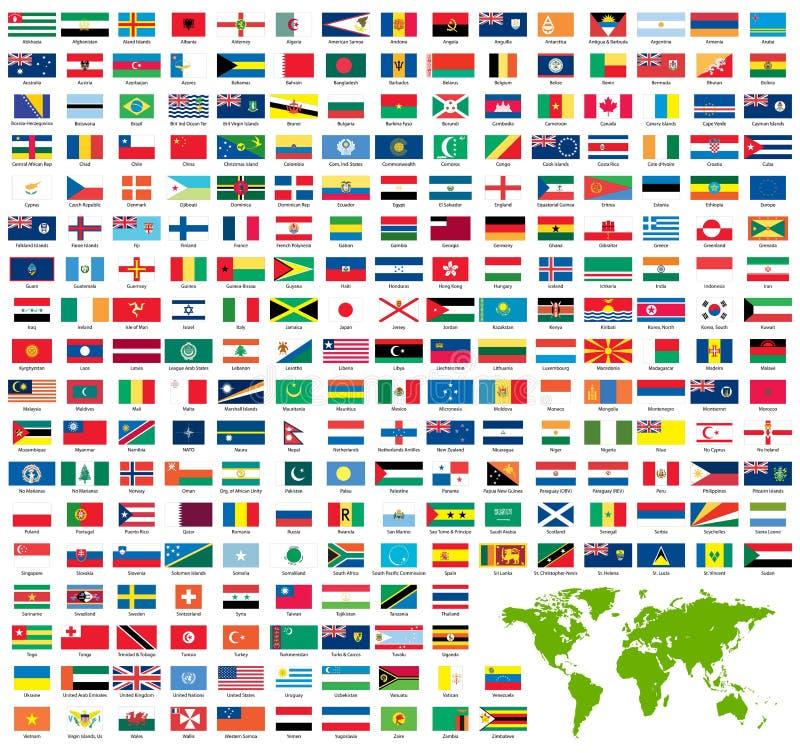 Jogo completo de bandeiras oficiais do mundo ilustração royalty free