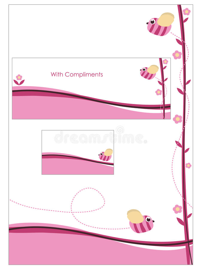 Jogo cor-de-rosa dos artigos de papelaria ilustração royalty free