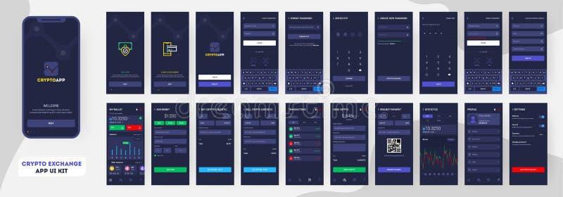 Jogo cripto do App UI para o app ou o Web site móvel responsivo ilustração royalty free