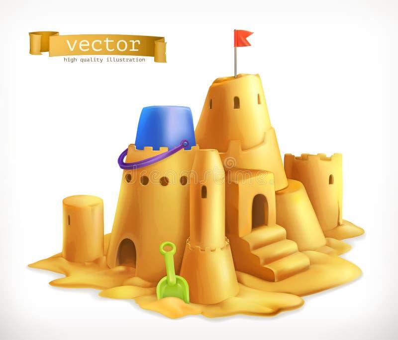 Jogo da areia, ícone do vetor do castelo de areia ilustração royalty free