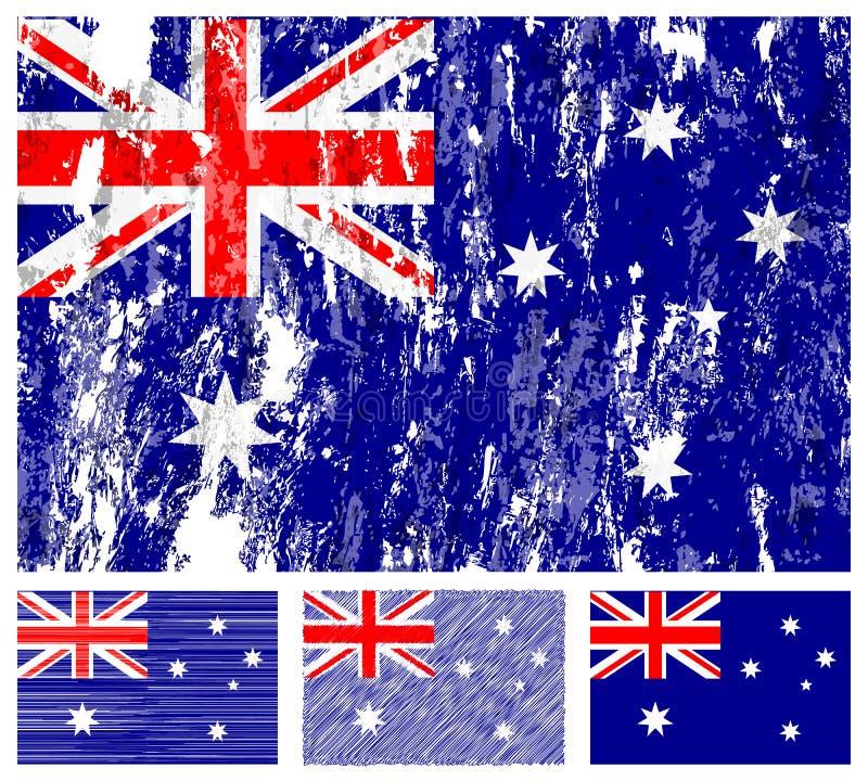 Jogo da bandeira do grunge de Austrália ilustração royalty free