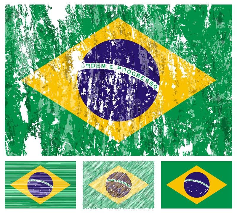 Jogo da bandeira do grunge de Brasil ilustração stock