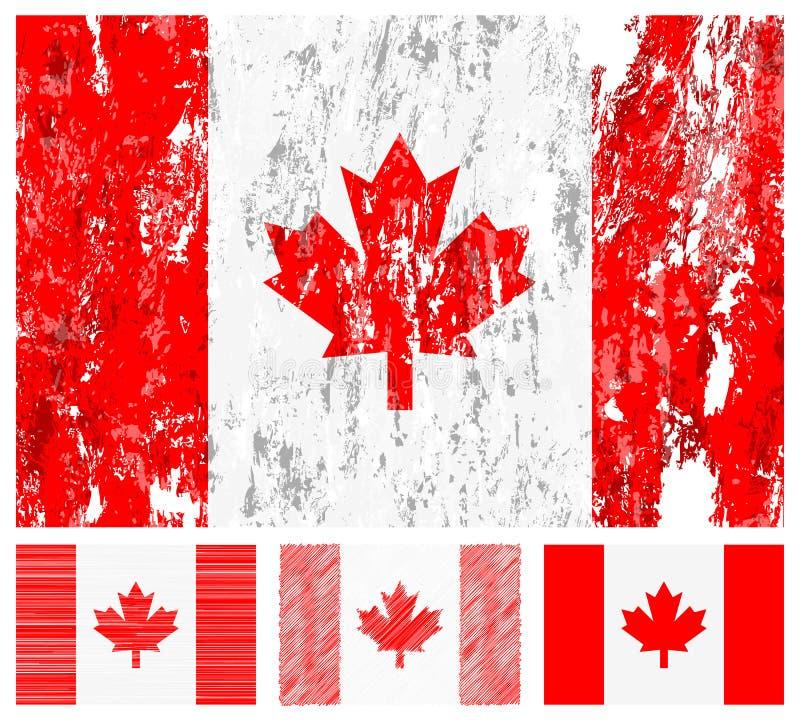 Jogo da bandeira do grunge de Canadá ilustração royalty free