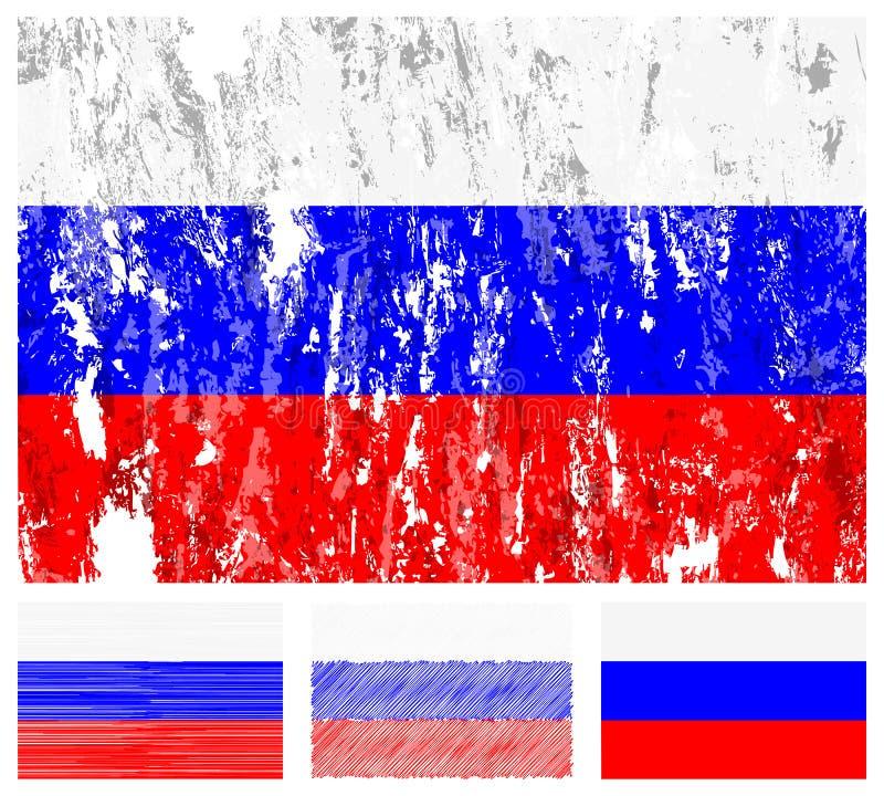 Jogo da bandeira do grunge de Rússia ilustração stock