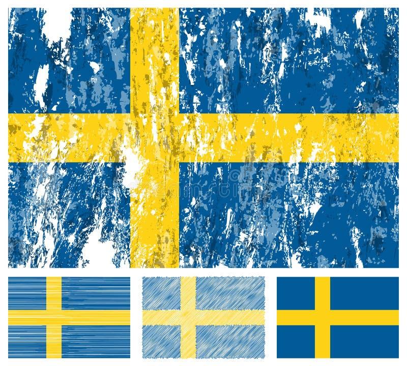 Jogo da bandeira do grunge de Sweden ilustração do vetor
