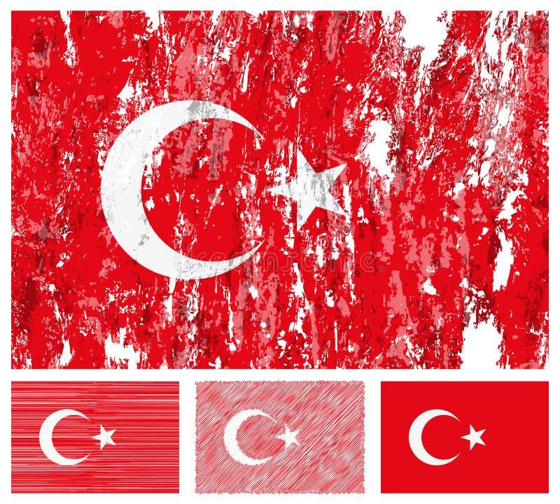 Jogo da bandeira do grunge de Turquia ilustração royalty free