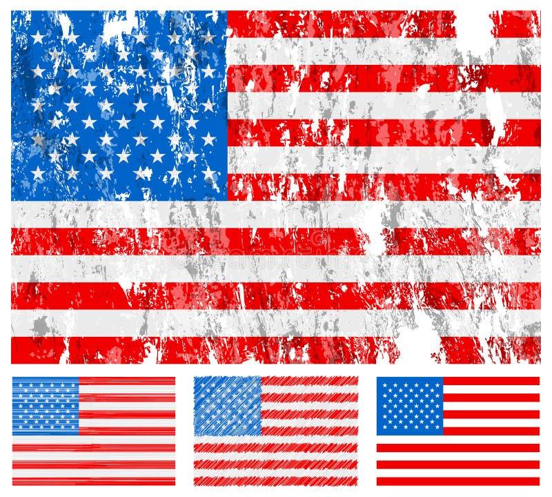 Jogo da bandeira do grunge dos EUA ilustração stock