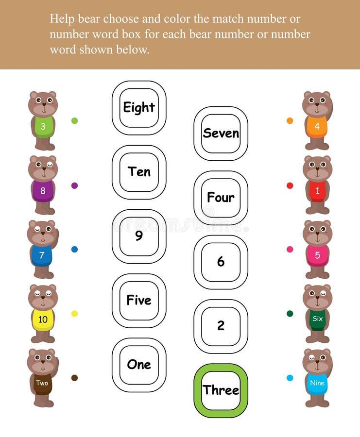 Jogo da caixa de cor do número do nariz do amor do urso ilustração do vetor