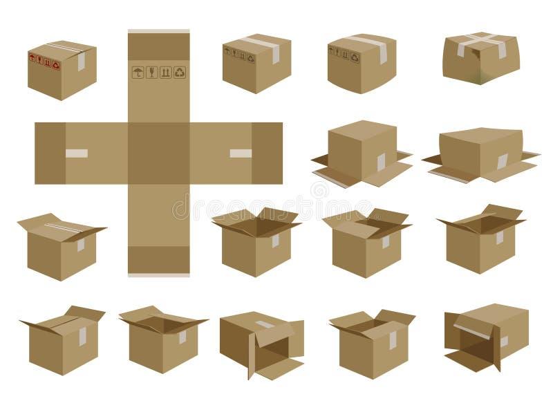 Jogo da caixa de transporte do vetor ilustração stock
